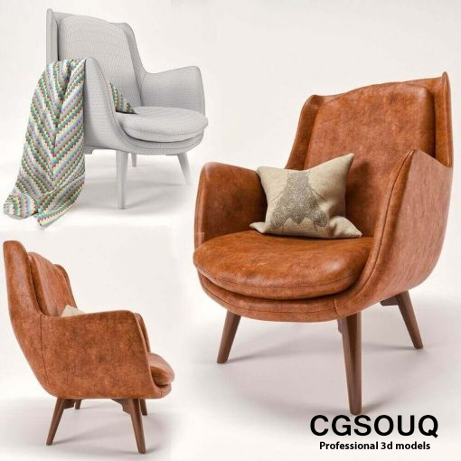 Mid Century Sofa and Chair set furniture set 3D model (2)