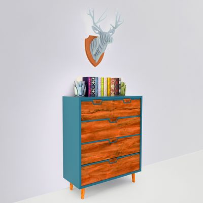 MidCentury Dresser Blue Chest 3D Model