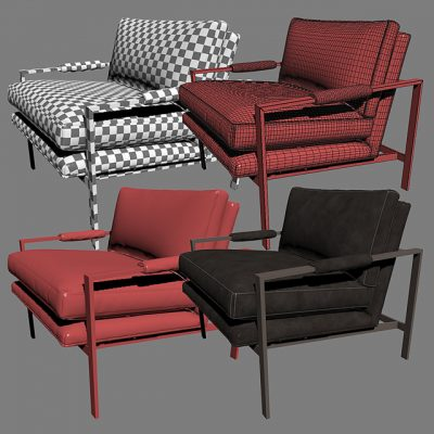 Milo Baughman Classic Design Lounge Armchair 3D Model