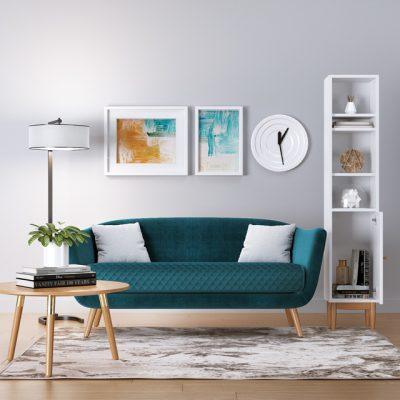Mineral Blue Nordic Sofa Set 3D Model