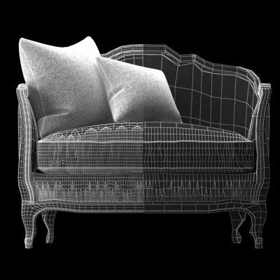 Mini Ondine Salon Sofa 3D Model