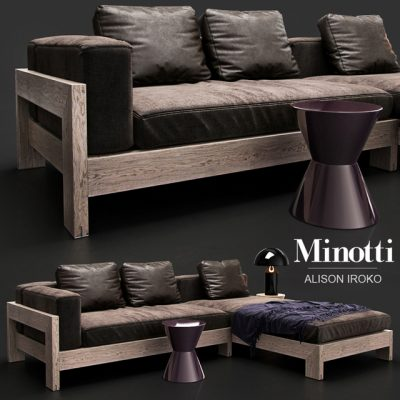 Minotti Alison Iroko Sofa Set 3D Model