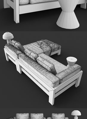 Minotti Alison Iroko Sofa Set 3D Model 6