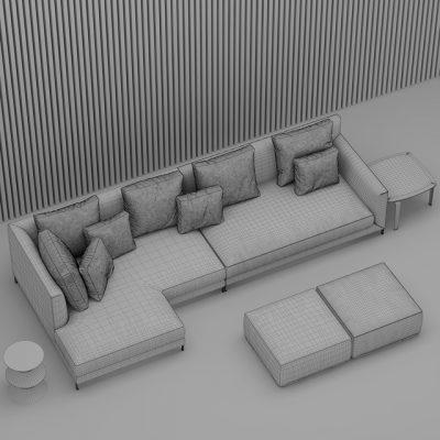 Minotti Allen Sofa 3D Model 3