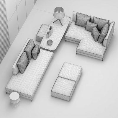 Minotti Allen Sofa Set-02 3D Model 3