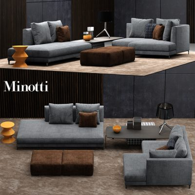 Minotti Allen Sofa Set-02 3D Model