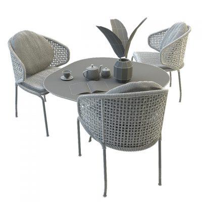 Minotti Aston Cord Outdoor Table & Chair 3D Model