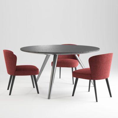 Minotti Aston & Evans Table & Chair 3D Model