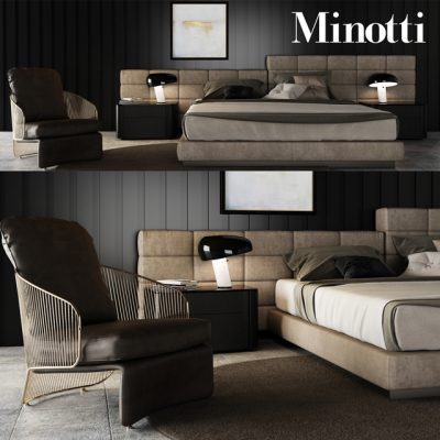 Minotti Bedroom Set-4 3D Model