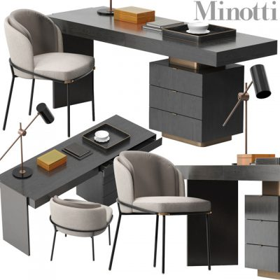 Minotti Carson Table & Chair 3D Model