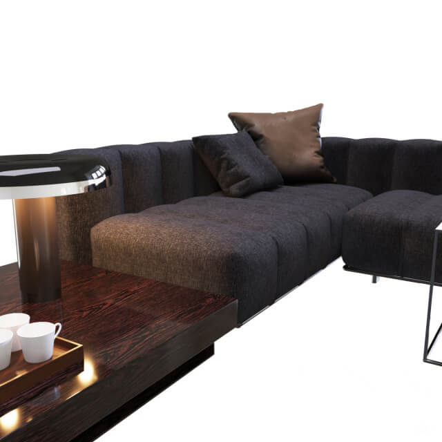 Minotti Freeman Lounge Gray Sofa 3D model for Download