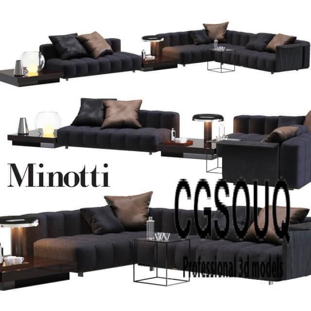 Minotti Freeman Lounge Gray Sofa 3D model