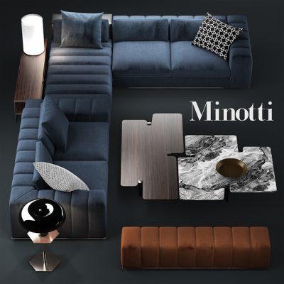 Minotti Freeman Zebrano Sofa 3D Model