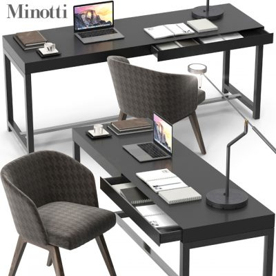 Minotti Fulton and Creed Table & Chair 3D Model