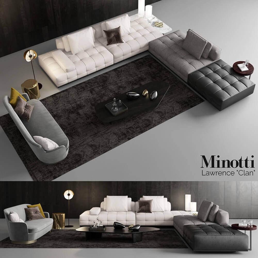 Minotti Lawrence Clan Seating 3 Sofa 3d Model