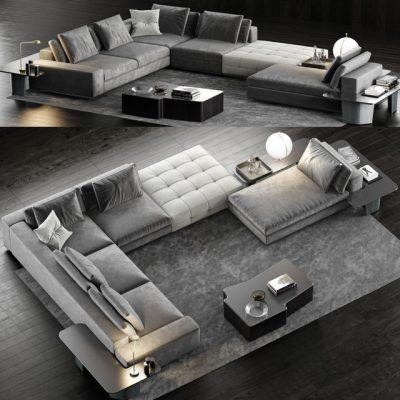 Minotti Lawrence Sofa Set-04 3D Model