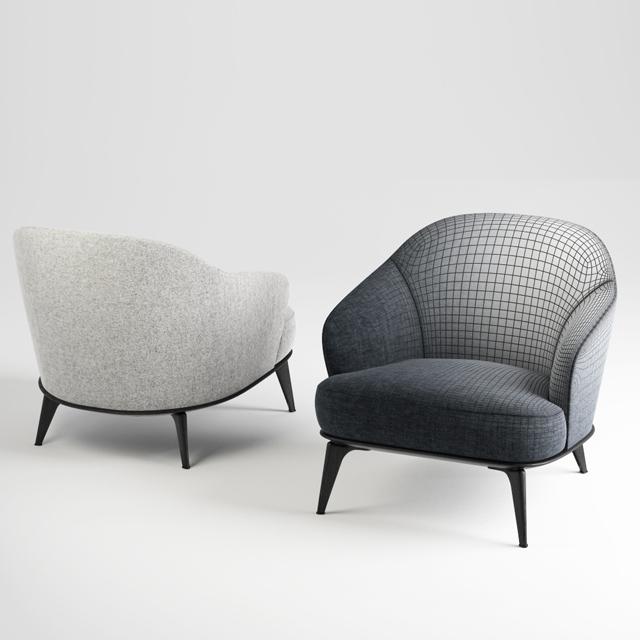 Minotti Leslie Chair & Sofa 3D Model 3