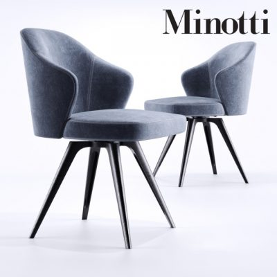 Minotti Leslie Girevole Base Chair 3D Model