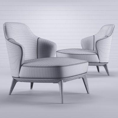 Minotti Leslie Senza Armchair 3D Model