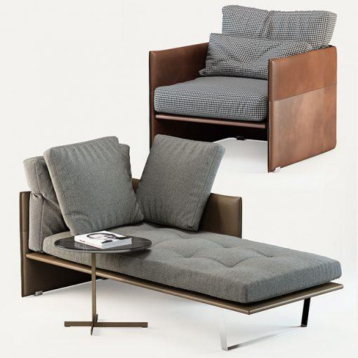 Minotti Luggage Set - Chaise 3D Model