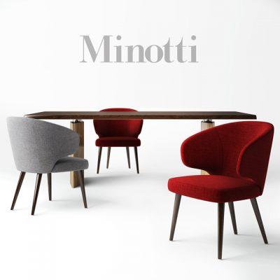 Minotti Morgan Table & Aston Chair 3D Model