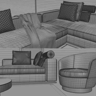 Minotti Sofa Set-01 3D Model