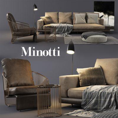 Minotti Sofa Set-03 3D Model