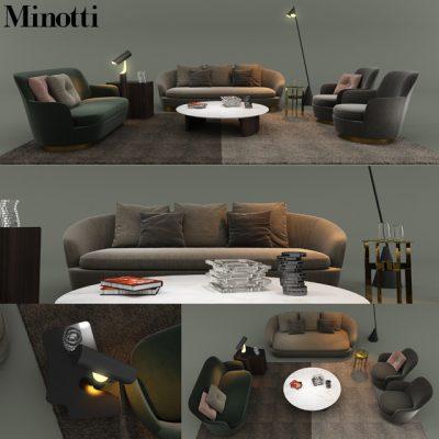 Minotti Sofa Set-08 3D Model