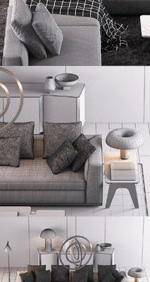 Minotti Sofa Set-09 3D Model 3