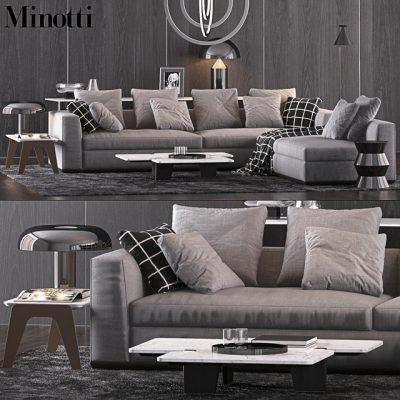 Minotti Sofa Set-09 3D Model