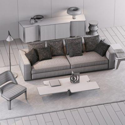 Minotti Sofa Set-11 3D Model 2