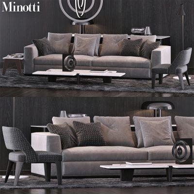 Minotti Sofa Set-11 3D Model