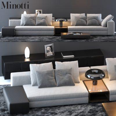 Minotti Sofa Set-14 3D Model