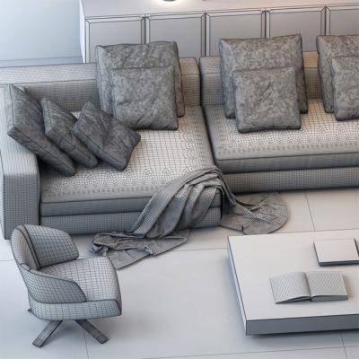 Minotti Sofa Set-15 3D Model 3