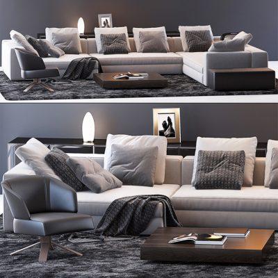 Minotti Sofa Set-15 3D Model