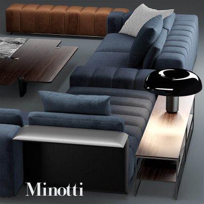 Minotti freeman seating system Sofa 3D model (2)