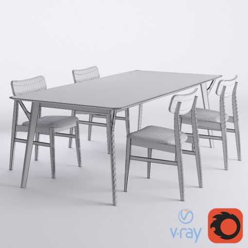 Miton - Table & Chair 3D Model 3