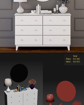 Modern White Dresser 3D Model