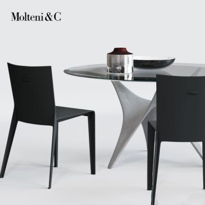 Molteni & C Alfa Chair – Arc Table – Table & Chair 3D Model