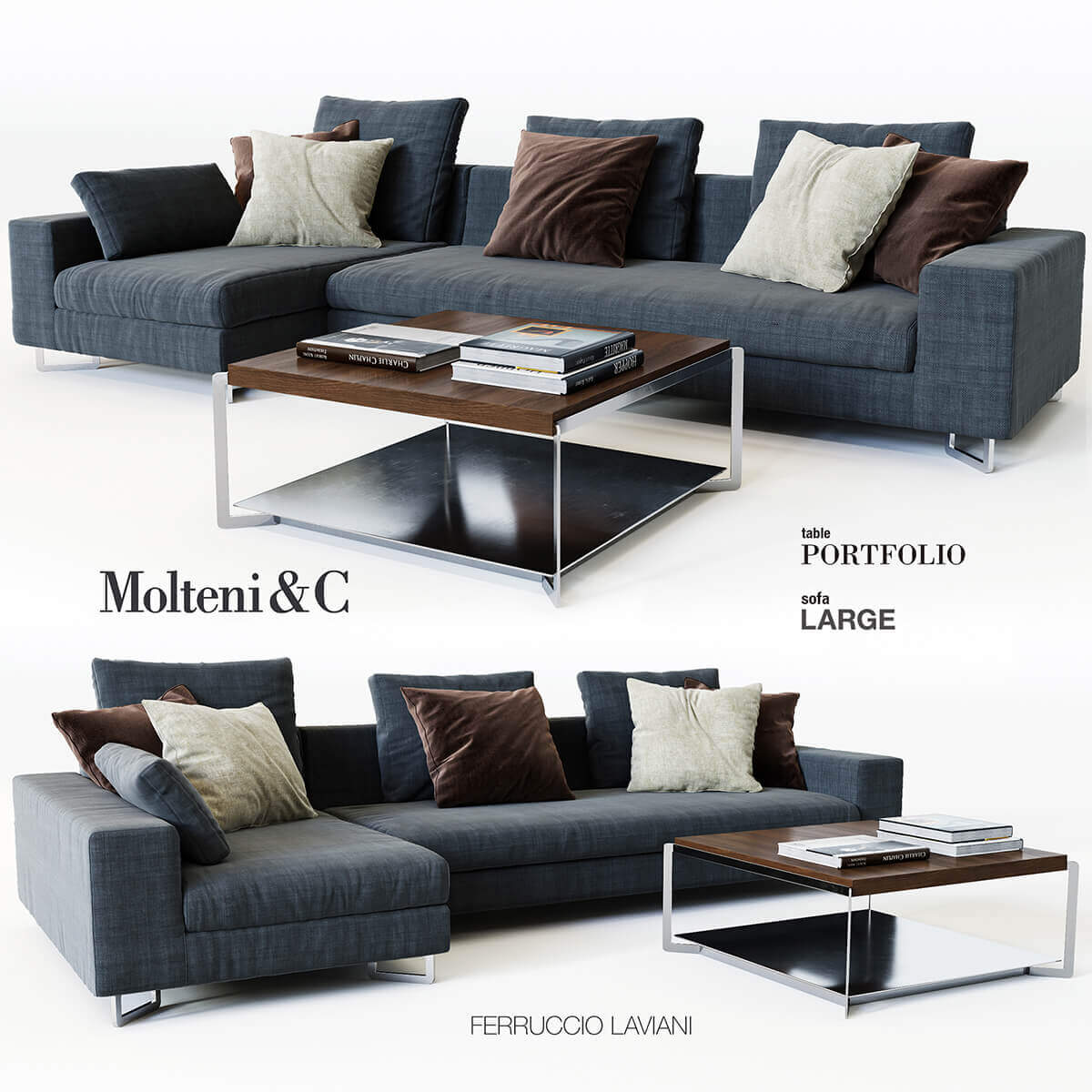 molteni c sofa 3d model for download. Black Bedroom Furniture Sets. Home Design Ideas