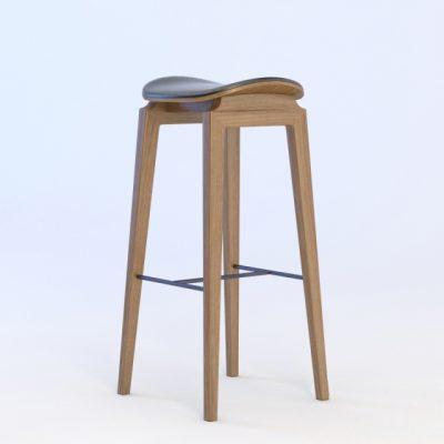 NY11 Walnut Leather Bar Stool Chair 3D Model