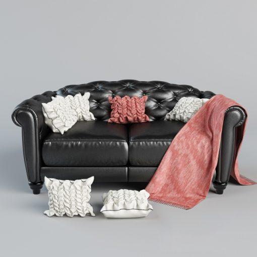 Natuzzi Editions B873 with Pillows Sofa 3D Model