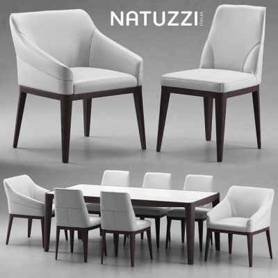 Natuzzi Table & Chair 3D Model