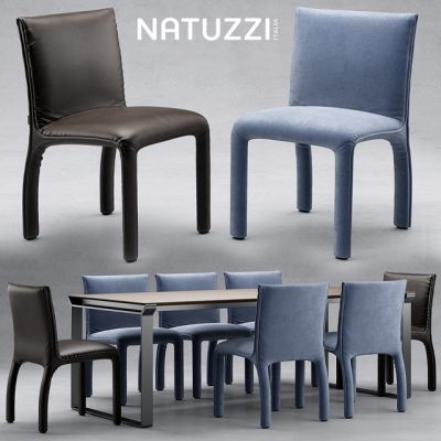 Natuzzi Table & Chair Set-03 3D Model
