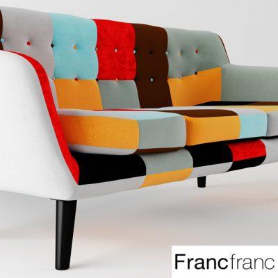 Navia Patchwork Sofa 3D Model 2