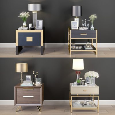 Nightstand Decorative Set-01 3D Model