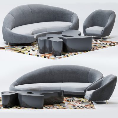 Nilufar Sofa Set 3D Model