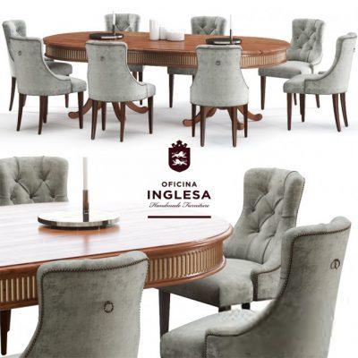 Oficina Inglesa Ivis Capitoné & Beaumont Table & Chair 3D Model