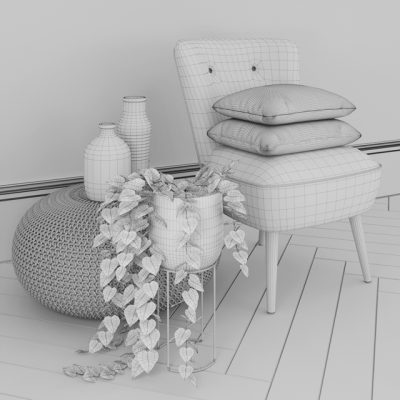Oliver Bonas and Zara Home Table & Chair 3D Model 3