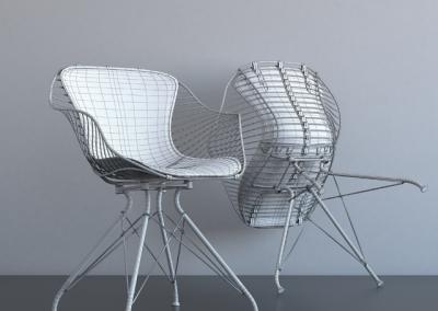 Overgaard & Dyrman Wire Dining Chair 3D Model 2